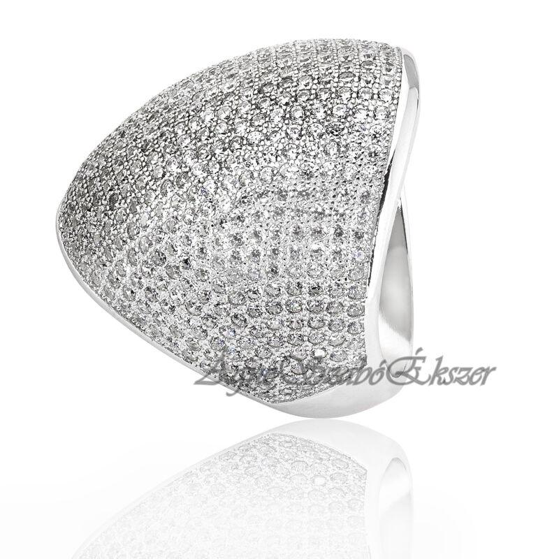 Káprázatosan csillogó ezüst gyűrű fehér arannyal bevont