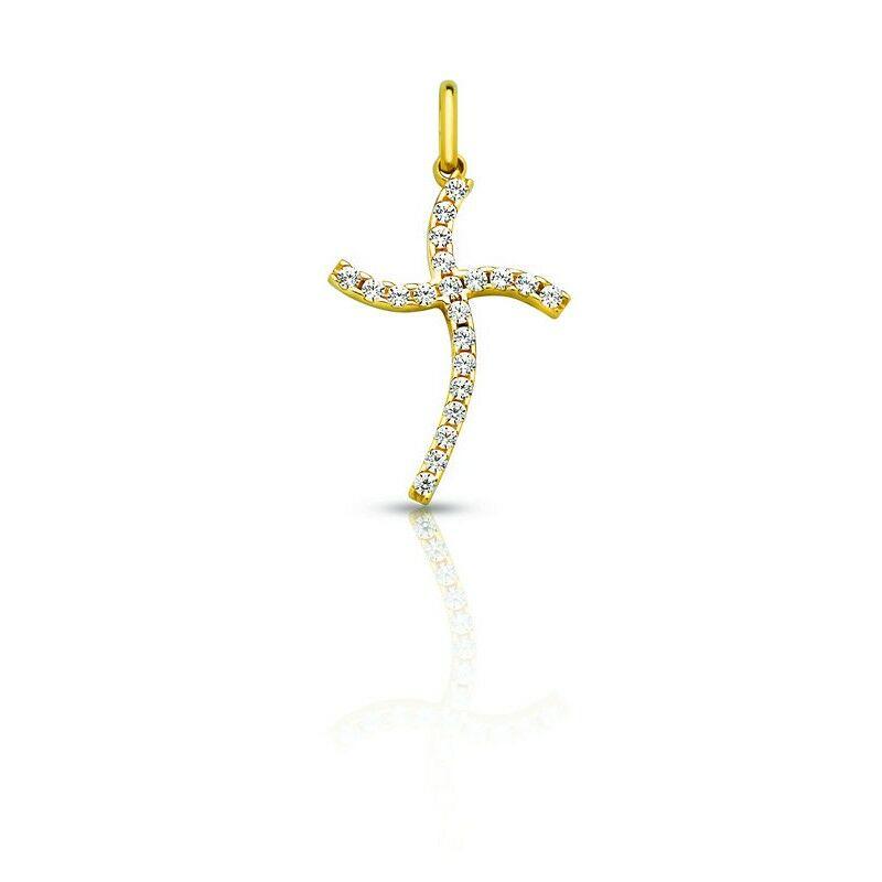 14 Karátos arany kereszt medál csillogó cirkónia kövekkel