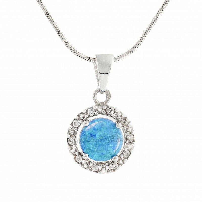 Kék opál köves ezüst medal cirkónia kövekkel
