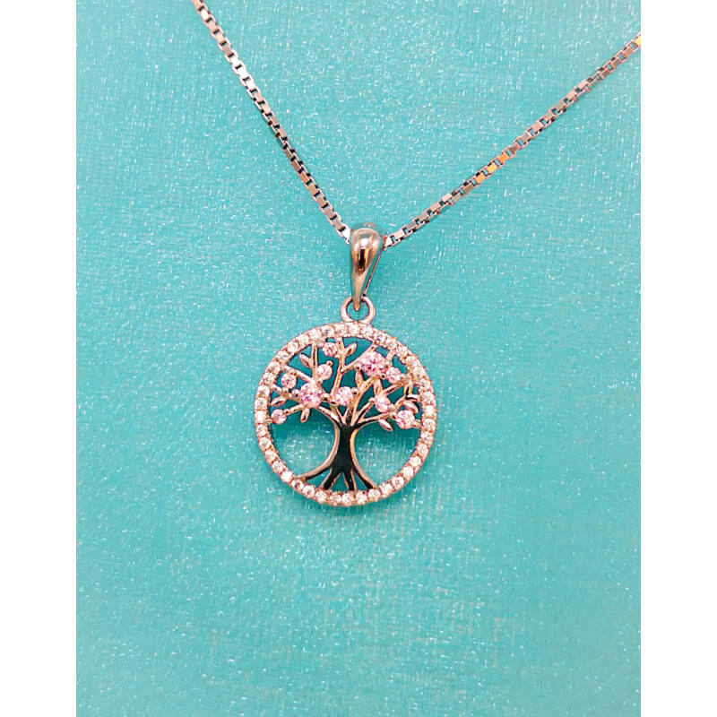 Ezüst Életfa medál rózsaszín cirkónia kő berakással