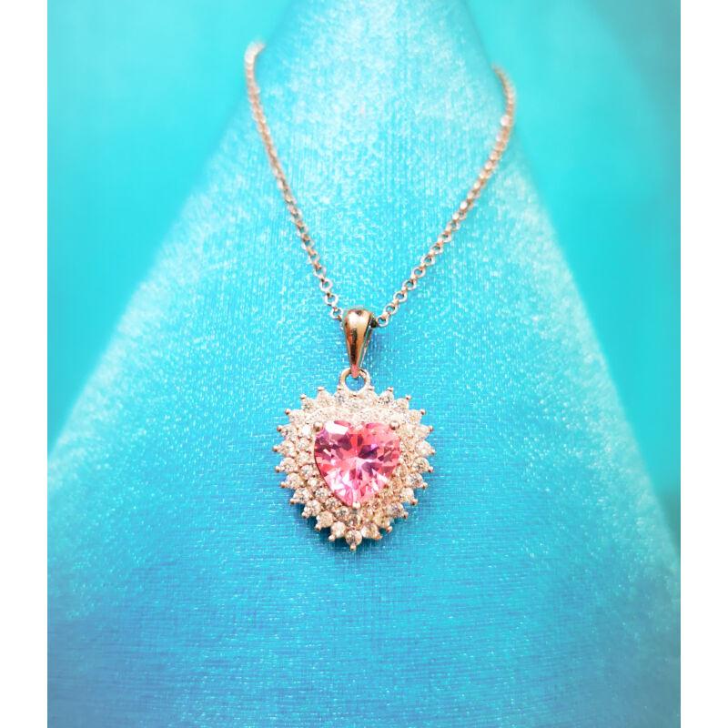 Rózsaszín köves szív medál