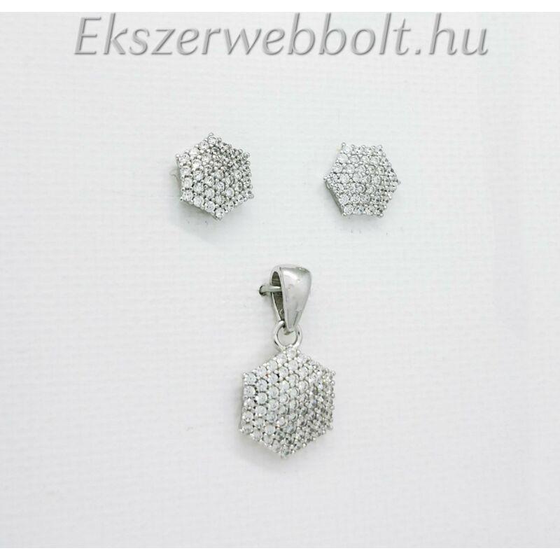 Hatszög alakú köves ezüst fülbevaló